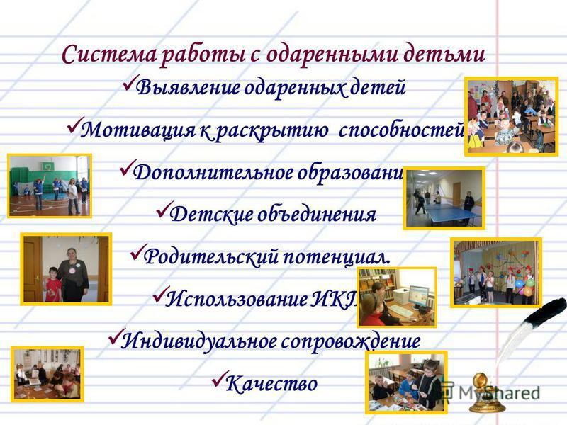 Выявление одаренных детей Мотивация к раскрытию способностей Дополнительное образование Детские объединения Родительский потенциал. Использование ИКТ Индивидуальное сопровождение Качество Система работы с одаренными детьми