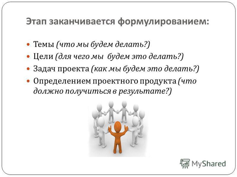 Этап заканчивается формулированием : Темы ( что мы будем делать ?) Цели ( для чего мы будем это делать ?) Задач проекта ( как мы будем это делать ?) Определением проектного продукта ( что должно получиться в результате ?)