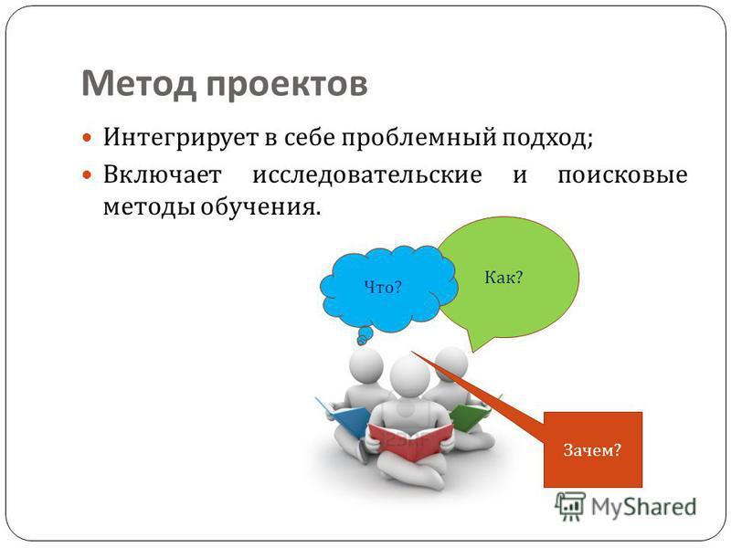 Метод проектов Интегрирует в себе проблемный подход ; Включает исследовательские и поисковые методы обучения. Как ? Что ? Зачем ?