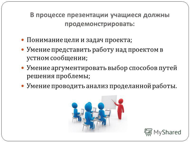 В процессе презентации учащиеся должны продемонстрировать : Понимание цели и задач проекта ; Умение представить работу над проектом в устном сообщении ; Умение аргументировать выбор способов путей решения проблемы ; Умение проводить анализ проделанно