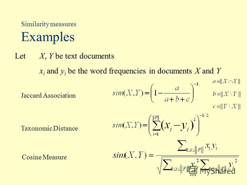 Similarity measures Examples Let X, Y be text documents x i and y i be the word frequencies in documents X and Y Jaccard Association Taxonomic Distance Cosine Measure