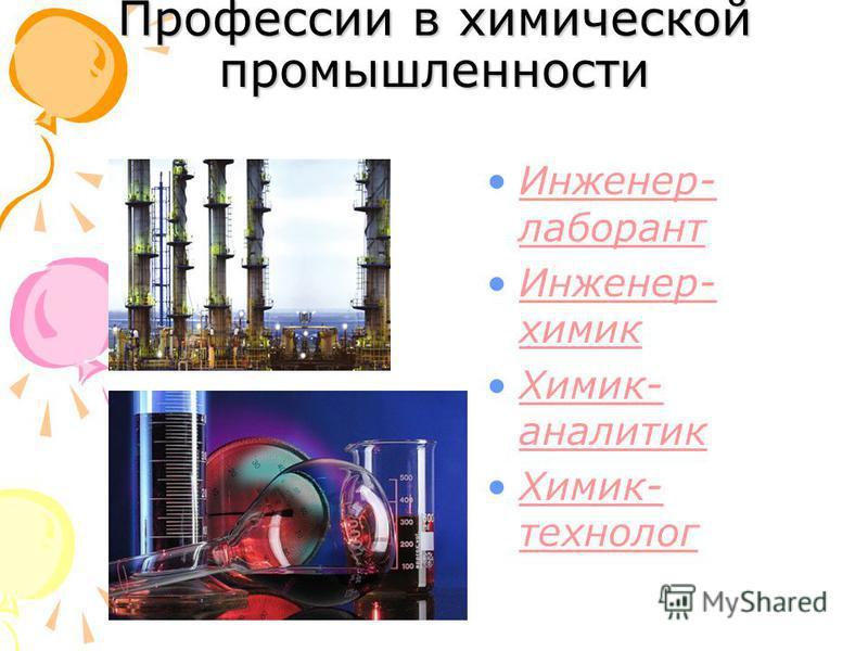 Профессии в химической промышленности Инженер- лаборант Инженер- лаборант Инженер- химик Инженер- химик Химик- аналитик Химик- аналитик Химик- технолог Химик- технолог