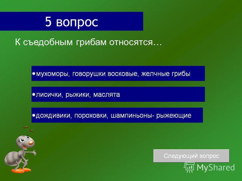 5 вопрос К съедобным грибам относятся…