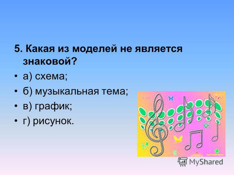 5. Какая из моделей не является знаковой? а) схема; б) музыкальная тема; в) график; г) рисунок.