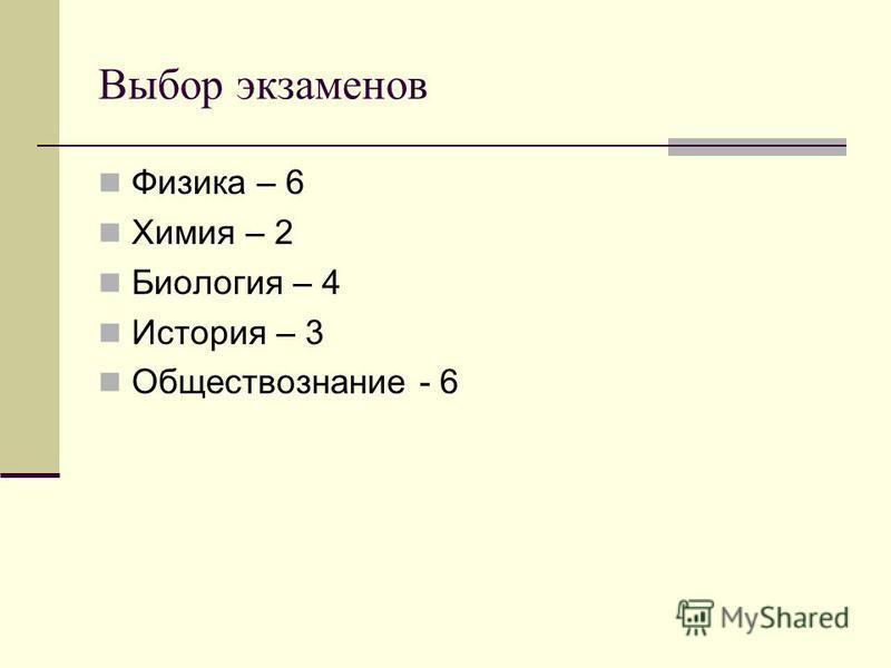 Выбор экзаменов Физика – 6 Химия – 2 Биология – 4 История – 3 Обществознание - 6