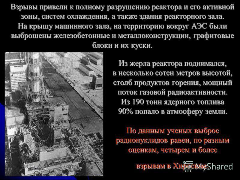 Из жерла реактора поднимался, в несколько сотен метров высотой, столб продуктов горения, мощный поток газовой радиоактивности. Из 190 тонн ядерного топлива 90% попало в атмосферу земли. По данным ученых выброс радионуклидов равен, по разным оценкам,
