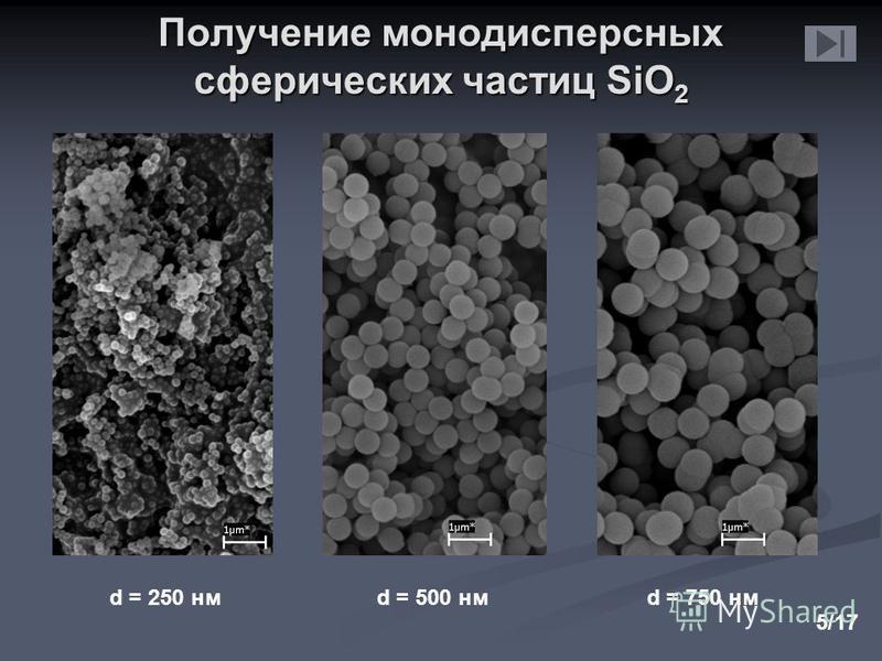 d = 250 нмd = 500 нмd = 750 нм Получение монодисперсных сферических частиц SiO 2 5/17