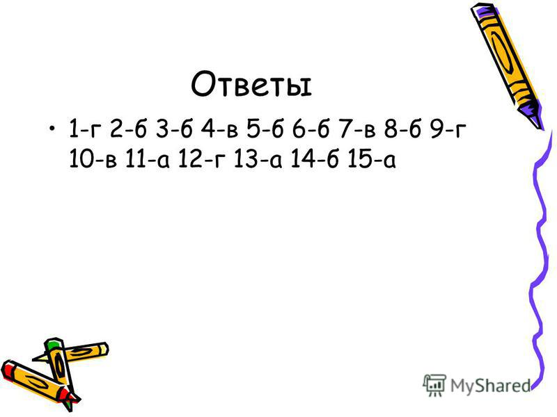 Ответы 1-г 2-б 3-б 4-в 5-б 6-б 7-в 8-б 9-г 10-в 11-а 12-г 13-а 14-б 15-а