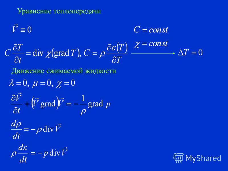 Вязкая несжимаемая нетеплопроводная жидкость Модель Навье-Стокса Уравнение движения Эйлера для несжимаемой жидкости