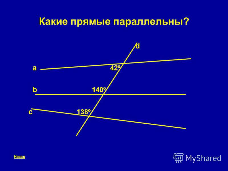 Какие прямые параллельны? d a 42º b 140º c 138º Назад