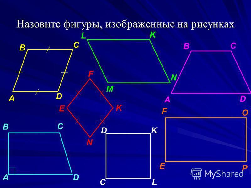 Назовите фигуры, изображенные на рисунках А B C M N P L F А K D C K C АD D B B N E F E C D L K O