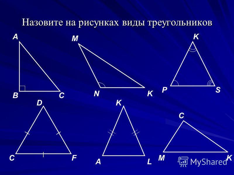 Назовите на рисунках виды треугольников А BC M N K PS L F А K KD CMK C