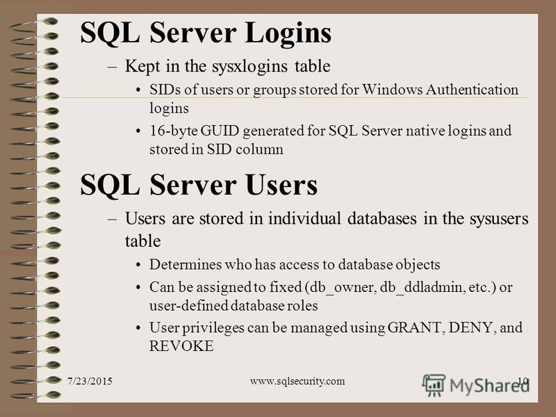 7/23/2015www.sqlsecurity.com10 SQL Server Logins –Kept in the sysxlogins table SIDs of users or groups stored for Windows Authentication logins 16-byte GUID generated for SQL Server native logins and stored in SID column SQL Server Users –Users are s