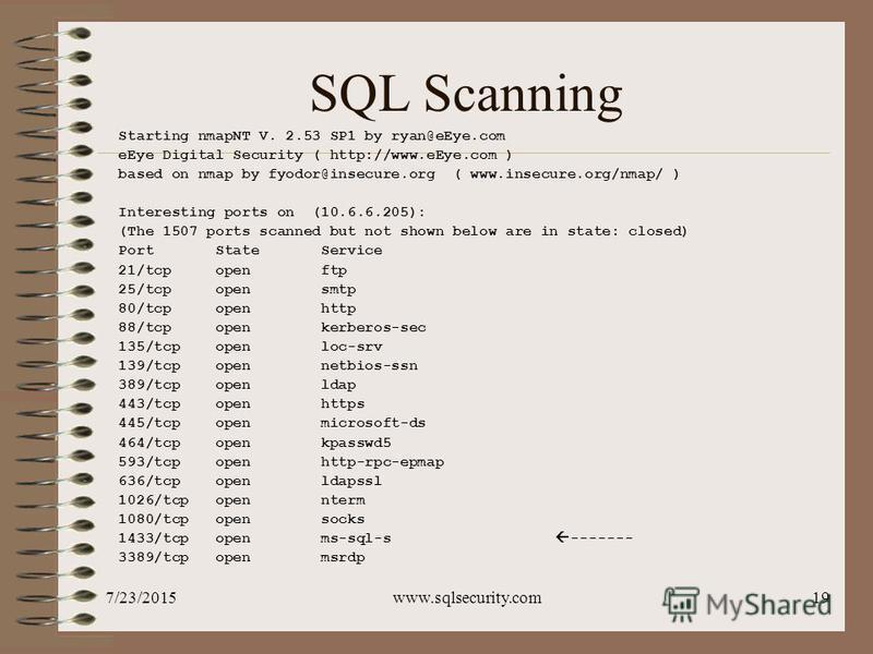 7/23/2015www.sqlsecurity.com19 SQL Scanning Starting nmapNT V. 2.53 SP1 by ryan@eEye.com eEye Digital Security ( http://www.eEye.com ) based on nmap by fyodor@insecure.org ( www.insecure.org/nmap/ ) Interesting ports on (10.6.6.205): (The 1507 ports