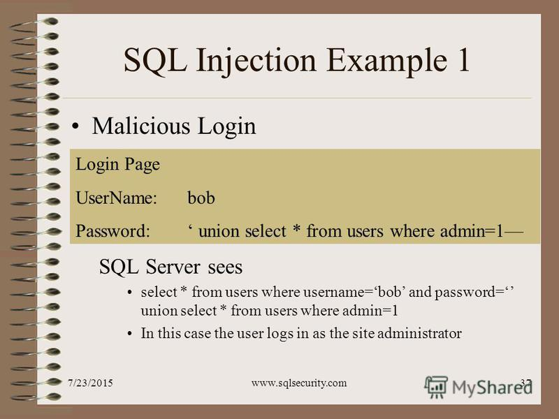 7/23/2015www.sqlsecurity.com37 SQL Injection Example 1 Malicious Login SQL Server sees select * from users where username=bob and password= union select * from users where admin=1 In this case the user logs in as the site administrator Login Page Use