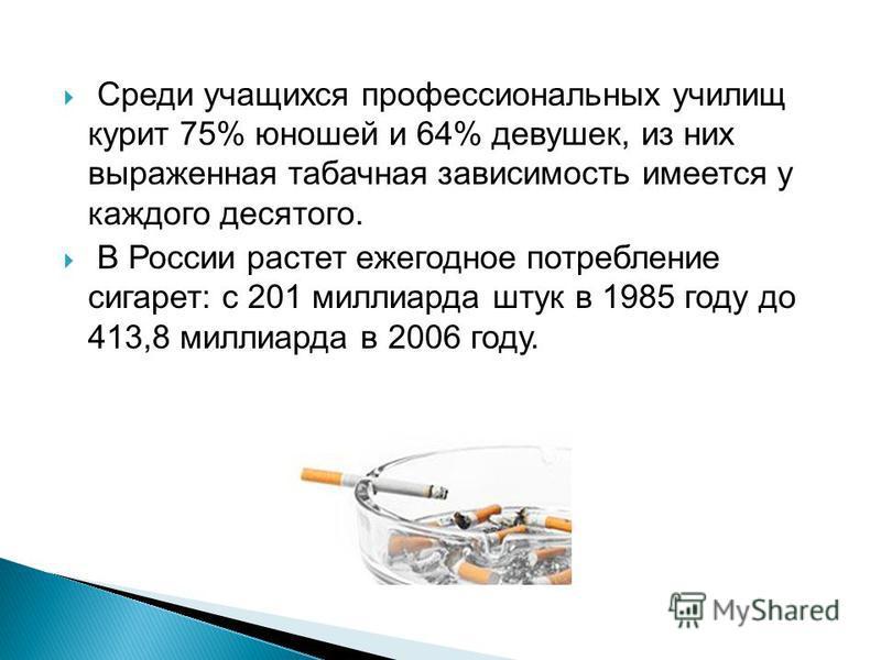 Среди учащихся профессиональных училищ курит 75% юношей и 64% девушек, из них выраженная табачная зависимость имеется у каждого десятого. В России растет ежегодное потребление сигарет: с 201 миллиарда штук в 1985 году до 413,8 миллиарда в 2006 году.