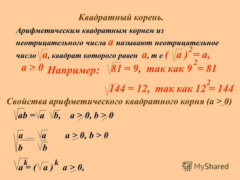 Квадратный корень. Арифметическим квадратным корнем из неотрицательного числа a называют неотрицательное число а, квадрат которого равен а, т е ( а ) = а, а > 0 2 Например: 81 = 9, так как 9 = 81 2 144 = 12, так как 12 = 144 2 Свойства арифметическог