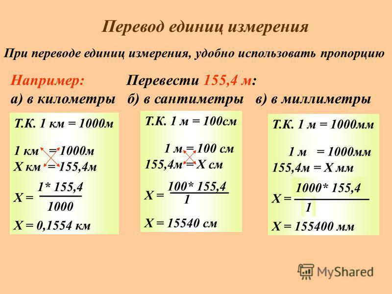 Перевод единиц измерения При переводе единиц измерения, удобно использовать пропорцию Например: Перевести 155,4 м: а) в километры б) в сантиметры в) в миллиметры Т.К. 1 км = 1000 м 1 км = 1000 м Х км = 155,4 м Х = Х = 0,1554 км 1* 155,4 1000 Т.К. 1 м