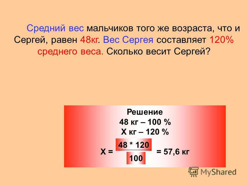 Средний вес мальчиков того же возраста, что и Сергей, равен 48 кг. Вес Сергея составляет 120% среднего веса. Сколько весит Сергей? Решение 48 кг – 100 % Х кг – 120 % Х = = 57,6 кг 48 * 120 100