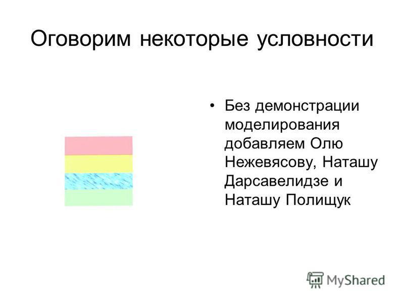 Оговорим некоторые условности Без демонстрации моделирования добавляем Олю Нежевясову, Наташу Дарсавелидзе и Наташу Полищук