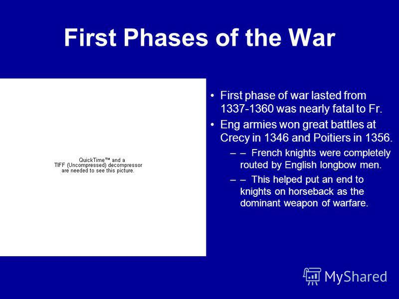 First Phases of the War First phase of war lasted from 1337-1360 was nearly fatal to Fr. Eng armies won great battles at Crecy in 1346 and Poitiers in 1356. –– French knights were completely routed by English longbow men. –– This helped put an end to
