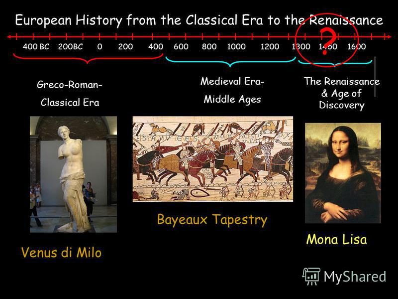 400 BC 200BC 0 200 400 600 800 1000 1200 1300 1450 1600 Greco-Roman- Classical Era The Renaissance & Age of Discovery European History from the Classical Era to the Renaissance Medieval Era- Middle Ages ? Venus di Milo Mona Lisa Bayeaux Tapestry