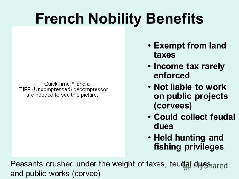 French Nobility Benefits Exempt from land taxes Income tax rarely enforced Not liable to work on public projects (corvees) Could collect feudal dues Held hunting and fishing privileges Peasants crushed under the weight of taxes, feudal dues and publi