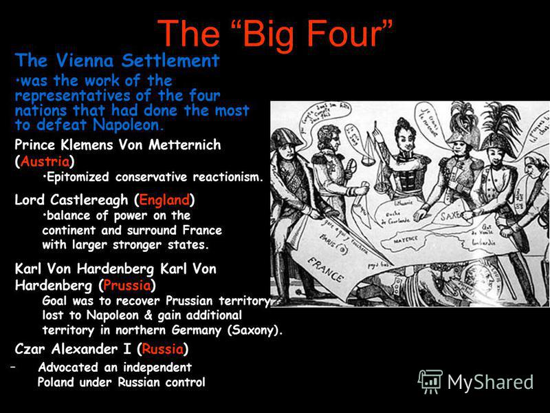 The Big Four Czar Alexander I (Russia) –Advocated an independent Poland under Russian control The Vienna Settlement was the work of the representatives of the four nations that had done the most to defeat Napoleon. Prince Klemens Von Metternich (Aust