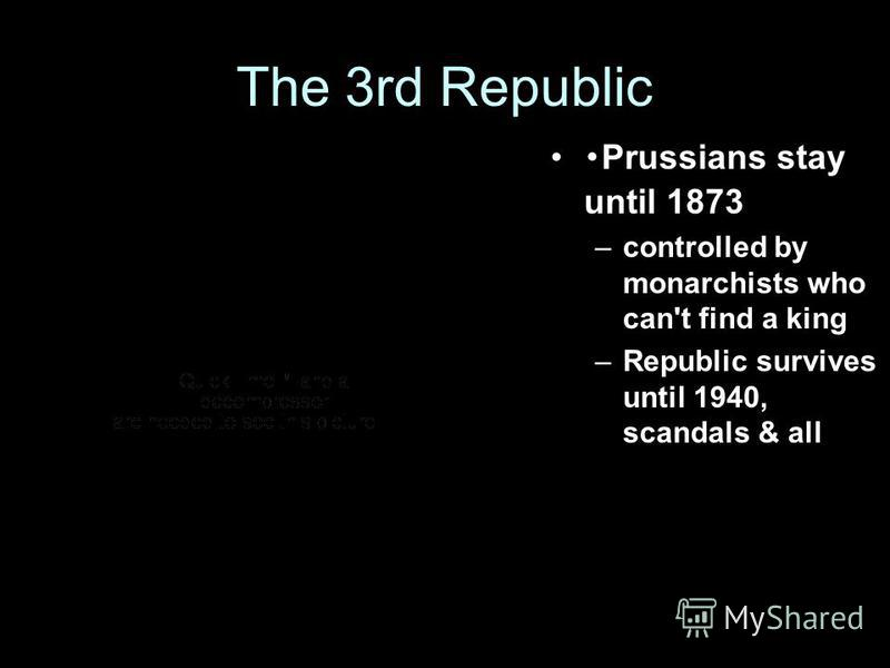 The 3rd Republic Prussians stay until 1873 –controlled by monarchists who can't find a king –Republic survives until 1940, scandals & all