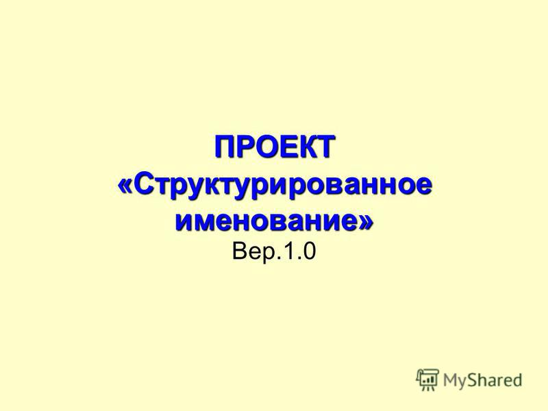 ПРОЕКТ «Структурированное именование» Вер.1.0