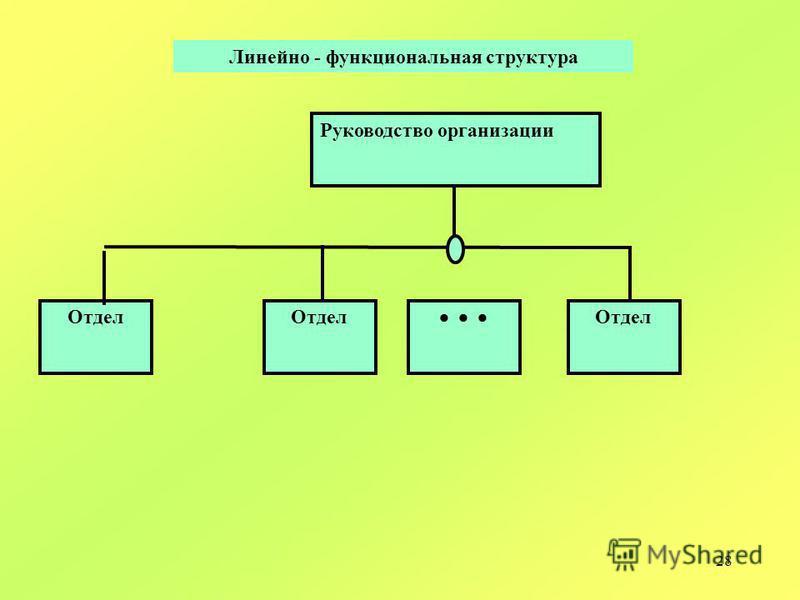 28 Руководство организации Отдел Линейно - функциональная структура