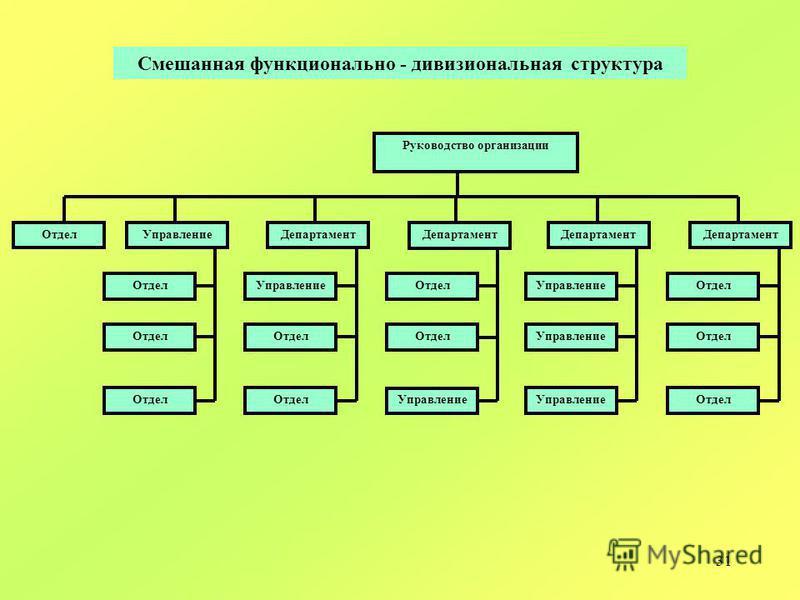 31 Руководство организации Департамент Отдел Департамент Отдел Управление Департамент Управление Департамент Управление Отдел Управление Отдел Смешанная функционально - дивизиональная структура