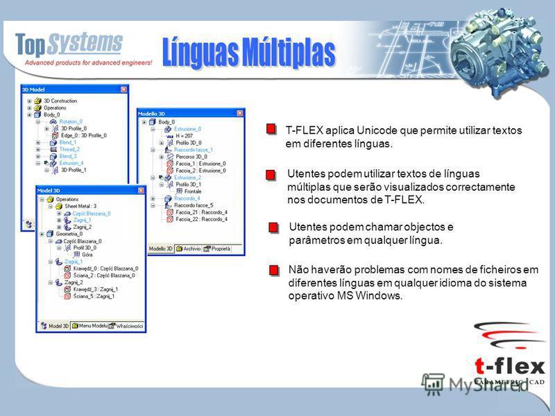 1 T-FLEX aplica Unicode que permite utilizar textos em diferentes línguas. Utentes podem utilizar textos de línguas múltiplas que serão visualizados correctamente nos documentos de T-FLEX. Utentes podem chamar objectos e parâmetros em qualquer língua