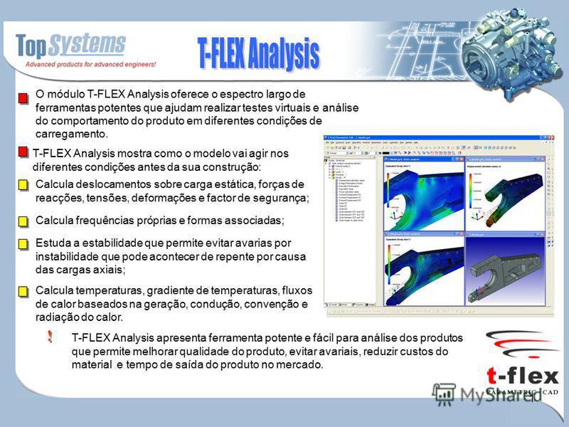 1 O módulo T-FLEX Analysis oferece o espectro largo de ferramentas potentes que ajudam realizar testes virtuais e análise do comportamento do produto em diferentes condições de carregamento. T-FLEX Analysis mostra como o modelo vai agir nos diferente