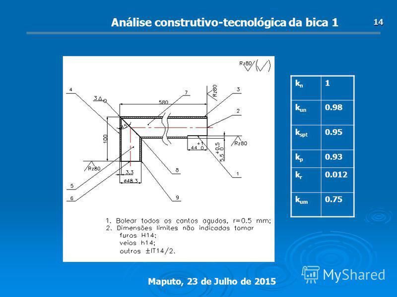 Maputo, 23 de Julho de 2015 14 Análise construtivo-tecnológica da bica 1 knkn 1 k un 0.98 k spt 0.95 kpkp 0.93 krkr 0.012 k um 0.75