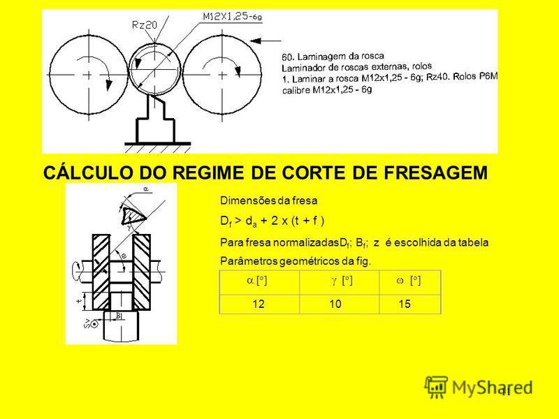 11 CÁLCULO DO REGIME DE CORTE DE FRESAGEM Dimensões da fresa D f > d a + 2 x (t + f ) Para fresa normalizadasD f ; B f ; z é escolhida da tabela Parâmetros geométricos da fig. 12 10 15