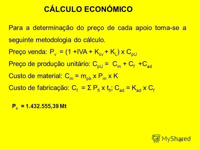 29 CÁLCULO ECONÓMICO P v = 1.432.555,39 Mt Para a determinação do preço de cada apoio toma-se a seguinte metodologia do cálculo. Preço venda: P v = (1 +IVA + K cv + K L ) x C pU Preço de produção unitário: C pU = C m + C f +C ad Custo de material: C