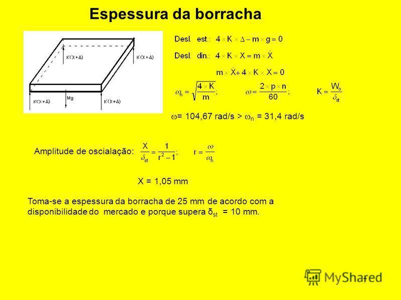 7 Espessura da borracha = 104,67 rad/s > n = 31,4 rad/s Amplitude de oscialação: X = 1,05 mm Toma-se a espessura da borracha de 25 mm de acordo com a disponibilidade do mercado e porque supera δ st = 10 mm.
