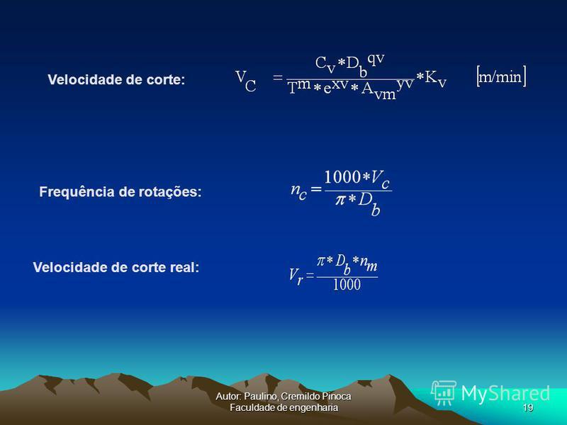 Autor: Paulino, Cremildo Pinoca Faculdade de engenharia19 Frequência de rotações: Velocidade de corte real: Velocidade de corte: