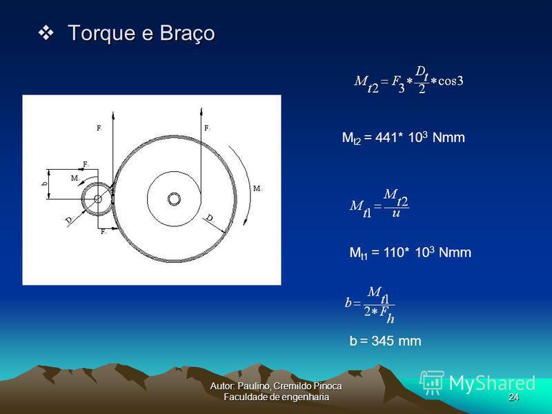 Autor: Paulino, Cremildo Pinoca Faculdade de engenharia24 Torque e Braço Torque e Braço M t2 = 441* 10 3 Nmm b = 345 mm M t1 = 110* 10 3 Nmm