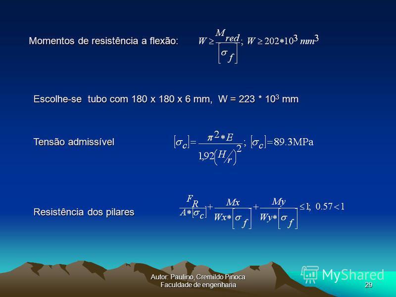 Autor: Paulino, Cremildo Pinoca Faculdade de engenharia29 Momentos de resistência a flexão: Escolhe-se tubo com 180 x 180 x 6 mm, W = 223 * 10 3 mm Resistência dos pilares Tensão admissível