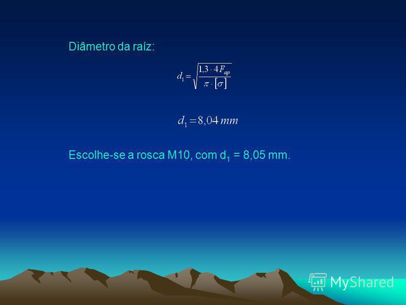 Diâmetro da raíz: Escolhe-se a rosca M10, com d 1 = 8,05 mm.