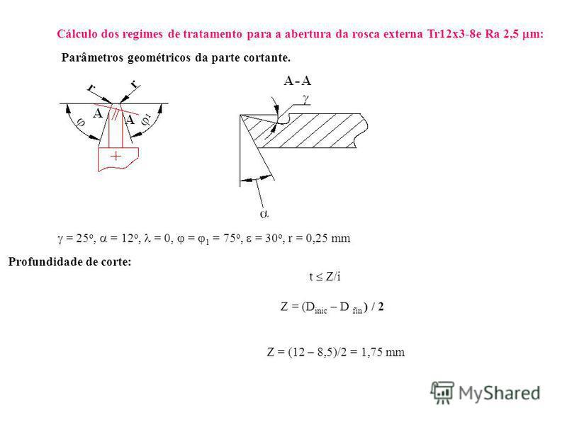 Cálculo dos regimes de tratamento para a abertura da rosca externa Tr12x3-8e Ra 2,5 m: Parâmetros geométricos da parte cortante. = 25 o, = 12 o, = 0, = 1 = 75 o, = 30 o, r = 0,25 mm Profundidade de corte: t Z/i Z = (D inic – D fin ) / 2 Z = (12 – 8,5