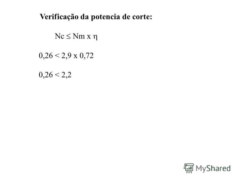 Verificação da potencia de corte: Nc Nm x 0,26 < 2,9 x 0,72 0,26 < 2,2