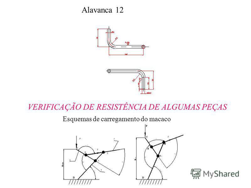 Alavanca 12 VERIFICAÇÃO DE RESISTÊNCIA DE ALGUMAS PEÇAS Esquemas de carregamento do macaco