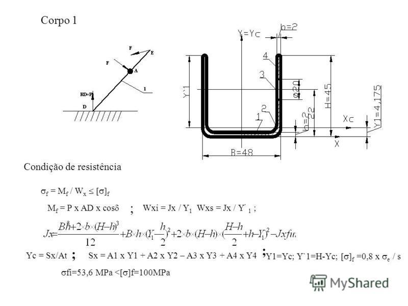 Corpo 1 Condição de resistência f = M f / W x f M f = P x AD x cos ; Wxi = Jx / Y 1 Wxs = Jx / Y 1 ; Yc = Sx/At ; Sx = A1 x Y1 + A2 x Y2 – A3 x Y3 + A4 x Y4 ; Y1=Yc; Y`1=H-Yc; f =0,8 x e / s fi=53,6 MPa < f=100MPa