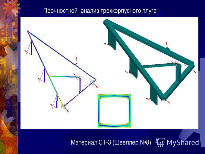 Прочностной анализ трехкорпусного плуга Материал СТ-3 (Швеллер 8)