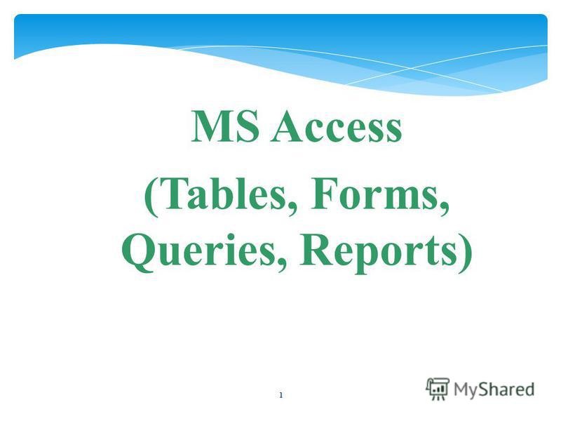 1 MS Access (Tables, Forms, Queries, Reports)