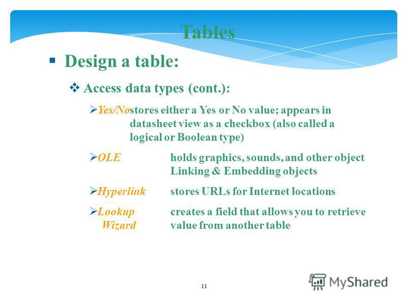 11 Tables Design a table: Access data types (cont.): Yes/Nostores either a Yes or No value; appears in datasheet view as a checkbox (also called a logical or Boolean type) OLEholds graphics, sounds, and other object Linking & Embedding objects Hyperl