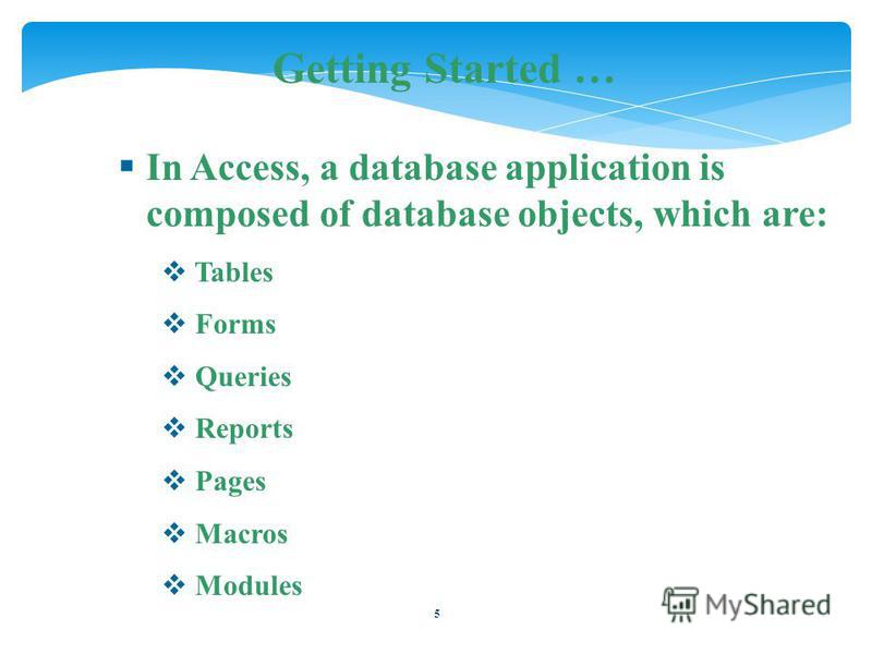 5 Getting Started … In Access, a database application is composed of database objects, which are: Tables Forms Queries Reports Pages Macros Modules